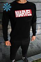 Мужской зимний спортивный костюм в стиле marvel черный
