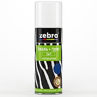 """Эмаль-грунт 2 в 1 аэрозоль """"Zebra"""" чёрный 400 мл."""