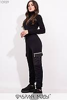 Утепленные брюки высокой посадки на резинке с кулиской и накладными карманами 13929