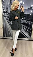 Твидовый тренч с кожаными рукавами /серый, 42-46, ft-280/