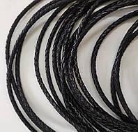 Шнурок шкіряний плетений чорний d-6,0