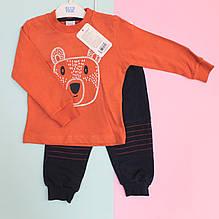 18041оран Костюм трикотажный синий для мальчика Мишка: кофта, спортивные штаны размер 74,80,86,92
