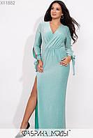 Вечернее платье с V-образым вырезом, длиными рукавами с манжетами на завязках и высоким разрезом сбоку X11882