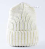 Вязаная удлиненная шапка Ralf CH F Uni молочная