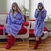 Теплый домашний халат лавандового цвета