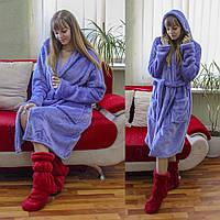 Теплый домашний халат лавандового цвета, фото 1