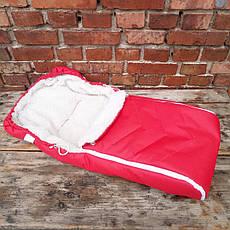 Зимний чехол на овчине в коляску санки красный, прорези для ремней., фото 3