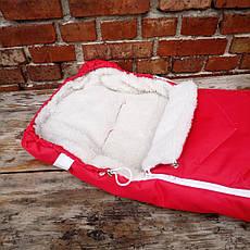 Зимний чехол на овчине в коляску санки красный, прорези для ремней., фото 2
