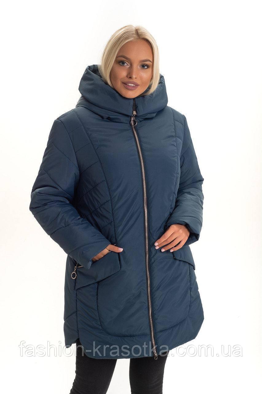 Зимова жіноча куртка,наповнювач силікон,розміри:50-62.