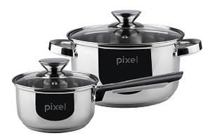 Набір посуду PIXEL Baden Набір каструль 4 пр.1.15 л ківш +3.9л каструля