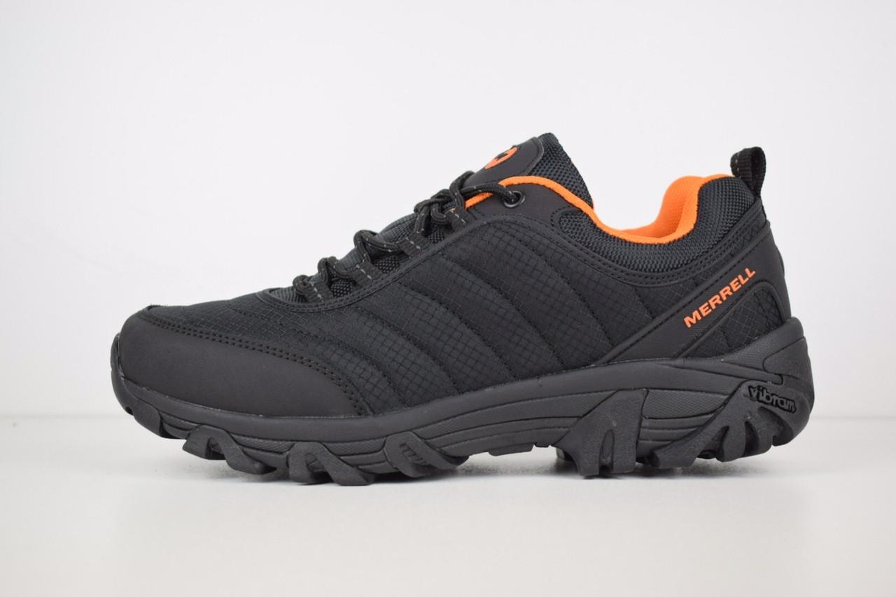 """Зимние кроссовки, ботинки на меху Merrell Vibram """"Черные / Оранжевые"""""""