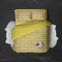 """Двухспальный комплект с простыней 180Х220 из ранфорса  """"Клеточка""""  Желтая"""