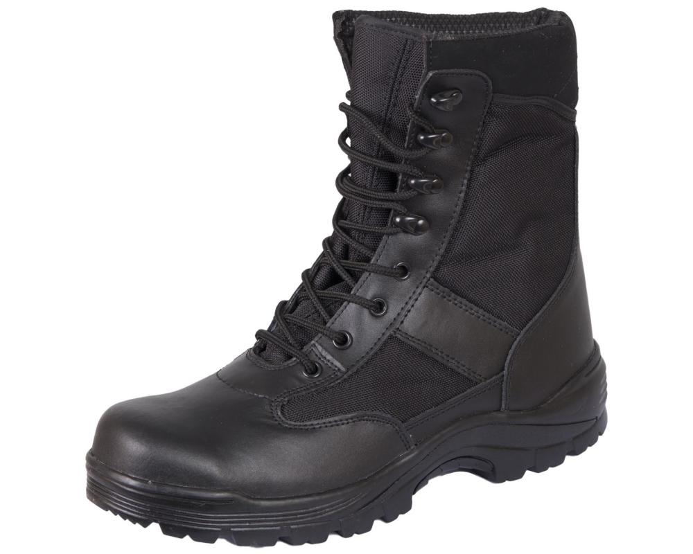 Берцы (ботинки с высокими берцами) кожа MIL-TEC Security Охрана стальной подносок Thinsulate черные