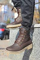 Мужские зимние ботинки кожаные с мехом коричневые