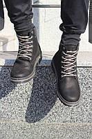 Мужские зимние ботинки кожаные с мехом темные