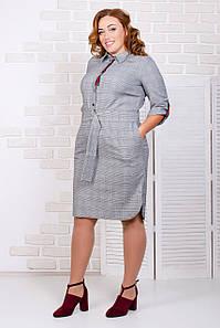 Платье-рубашка в клетку с поясом 50-56 р