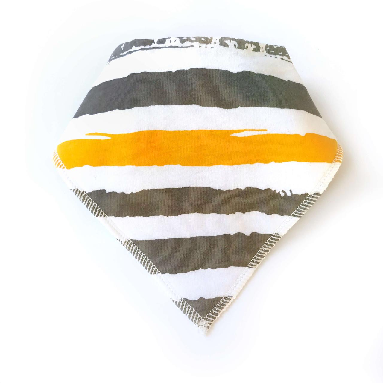 Слюнявчик оранжево-серая полоска (КМ 76)