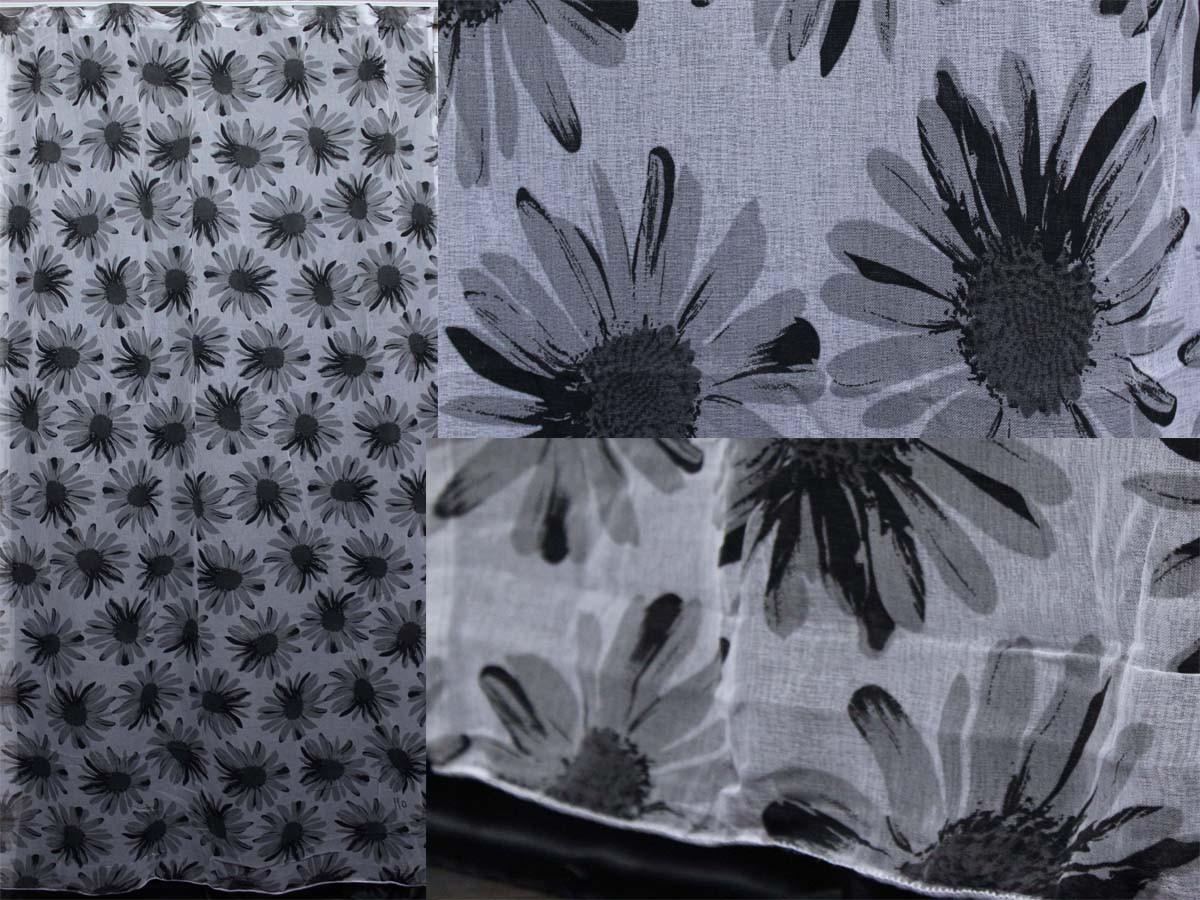 """Тюль лён, полупрозрачная ткань с серыми цветами.Коллекция """"Лорен"""".Код 414т"""