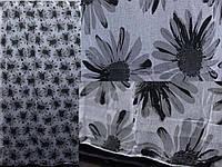 """Тюль лён, полупрозрачная ткань с серыми цветами.Коллекция """"Лорен"""".Код 414т, фото 1"""