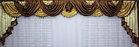 Ламбрекен из атласа ручной выкладки на карниз 4 метра №75 Коричневый, фото 1