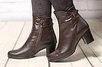 Женские кожаные ботинки TIFFANY на среднем каблуке со вставкой из коричневой кожи, фото 1