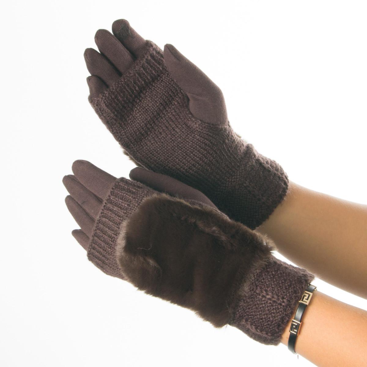 Текстильные женские перчатки-митенки с вязкой № 19-1-55-2 коричневый M