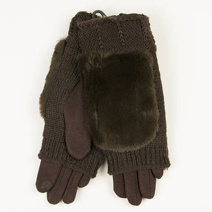 Текстильные женские перчатки-митенки с вязкой № 19-1-55-2 коричневый M, фото 2