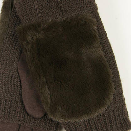 Текстильные женские перчатки-митенки с вязкой № 19-1-55-2 коричневый M, фото 3