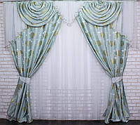 Комплект из ткани блекаут .Цвет бирюзовый с белым.  Код 063лш353 70-013, фото 1