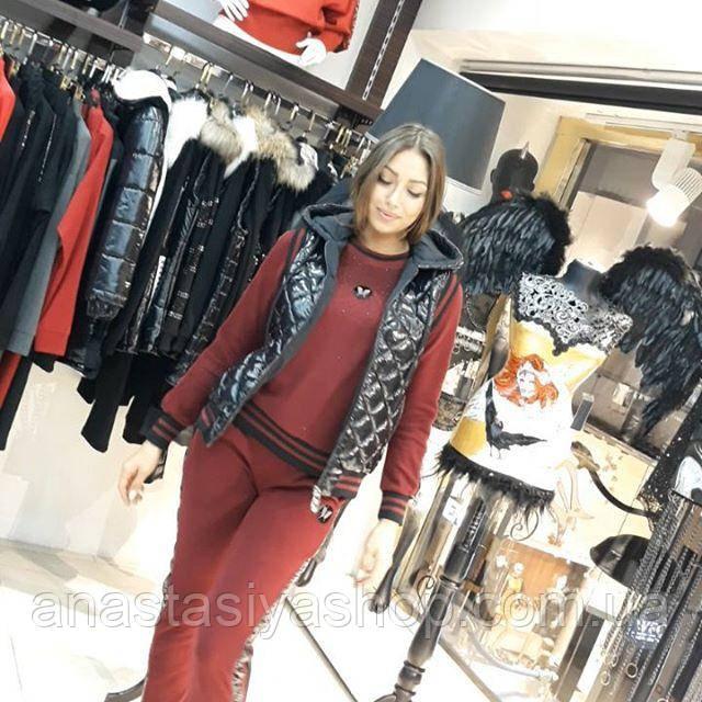 Спртивный костюм в цвете бордо+жилет из плащевки