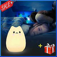 Ночник светильник силиконовый Котик, 3D светильник, 3D лампа-светильник, LED ночник