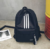 Женский рюкзак черный вместительный тканевый с белой полоской
