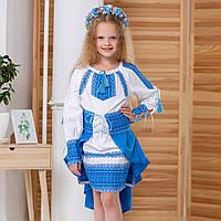 Традиционный украинский костюм для девочки голубого цвета, размеры 98-152