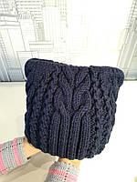 Детская вязанная утепленная шапка 46-50см