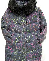 Женское зимнее пальто с рисунком в 3D ,р.50.