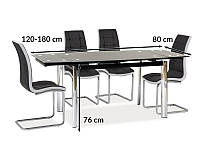 Черный раскладной стол на кухню Signal GD-020 120-180x80см