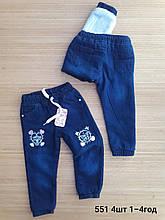Детские джинсы теплые для девочки на травке  р.1-4 лет