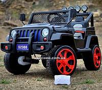 Детский электромобиль M 3237 EBLR-2-3 кожаное сиденье, черно-красный