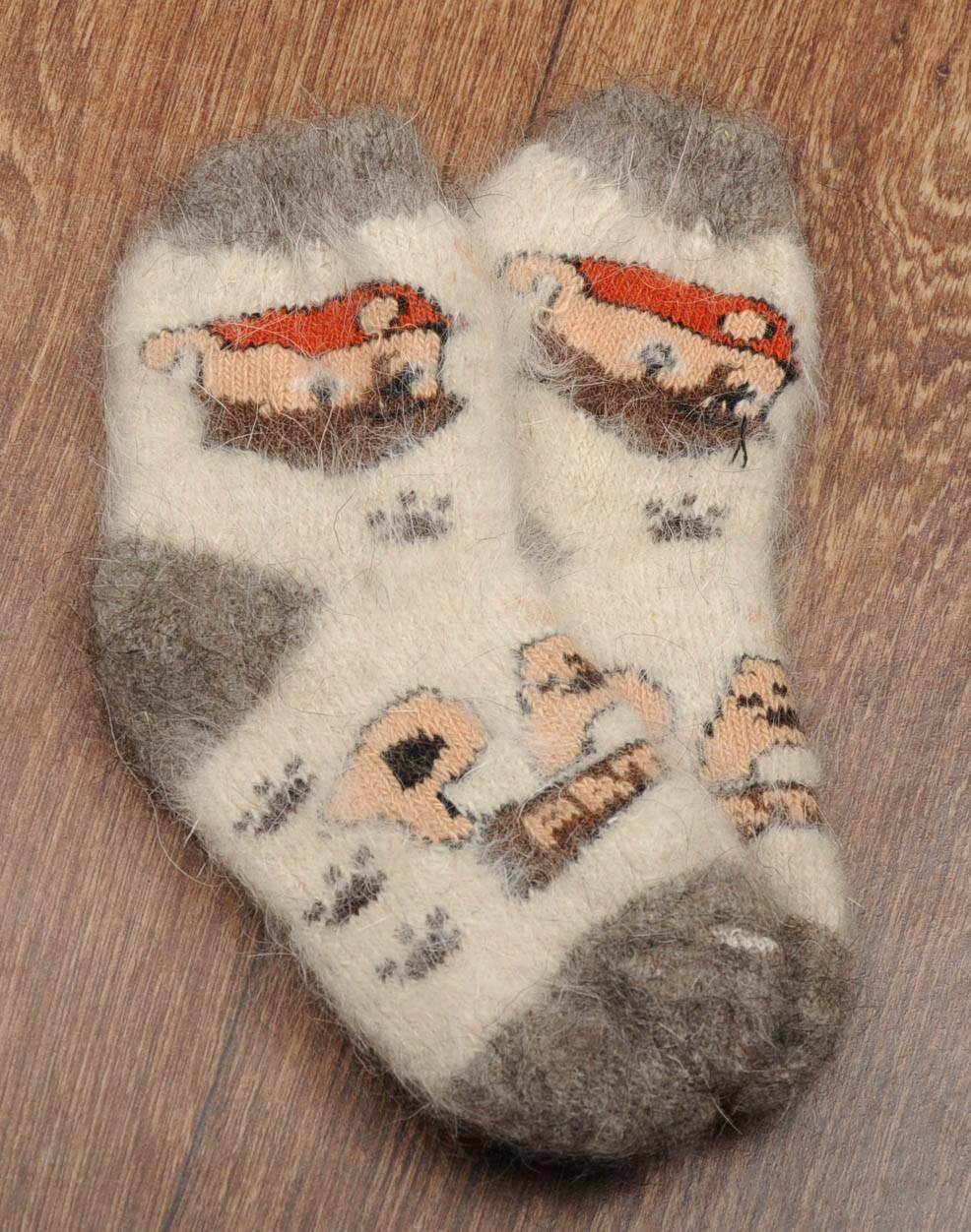 Шерстяные носки детские, носки из козьего пуха, теплые носки, зимние носочки с резинкой, длина 16-20 см, фото 1