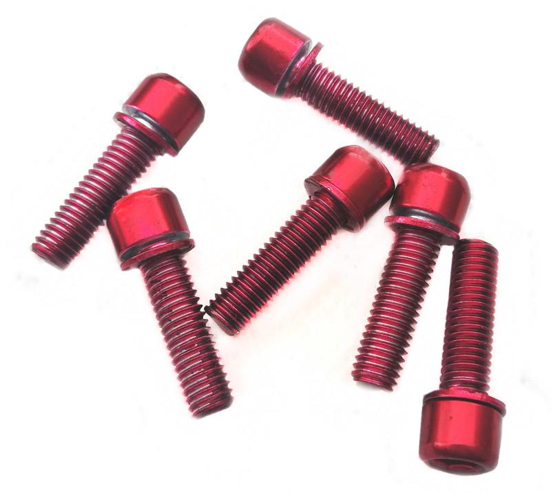 Болты для выноса руля M5x18 мм (6 штук), красные