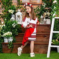 Традиционный украинский костюм для девочки красного цвета, размеры 98-152