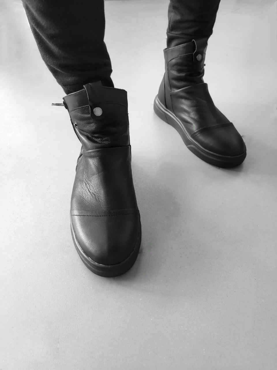 😜 Ботинки - мужские ботинки зимние черные кожанные