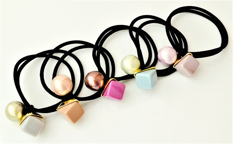 Резинки для волос шарик с кубом (5 шт)