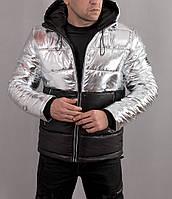 Мужская зимняя теплая куртка EA7 Armani серебристая