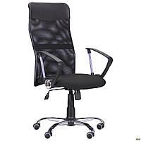Офисное кресло AMF Ultra Хром черное спинка-сетка