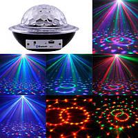 Лазерный диско шар UFO Bluetooth crystal magic ball, 220V, пульт Д/У