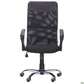 Комп'ютерне крісло AMF Ultra хром чорне спинка-сітка для роботи вдома і в офісі