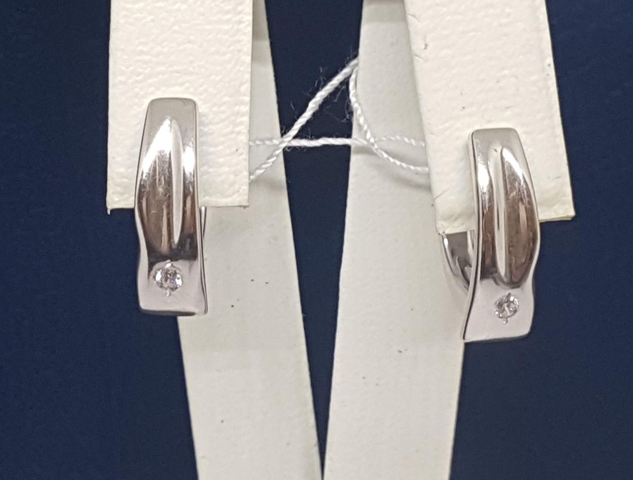 Срібні сережки з фіанітами. Артикул 4940