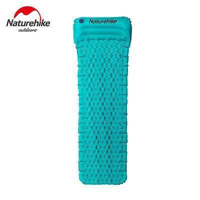 Одноместный надувной коврик-матрас Naturehike. Туристический коврик с подушкой. Туристичний матрац NH-17T024T Синий