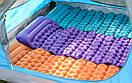 Одноместный надувной коврик-матрас Naturehike. Туристический коврик с подушкой. Туристичний матрац NH-17T024T Синий, фото 9